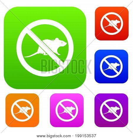 No rats sign set icon in different colors isolated vector illustration. Premium collection