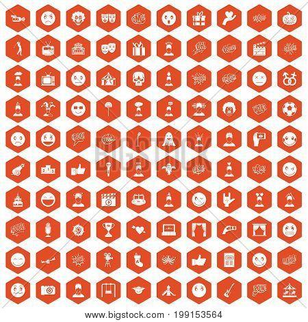 100 emotion icons set in orange hexagon isolated vector illustration