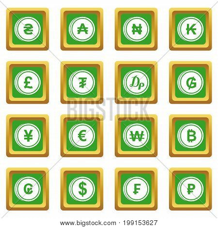 Currency from different countries icons set in green color isolated vector illustration for web and any design