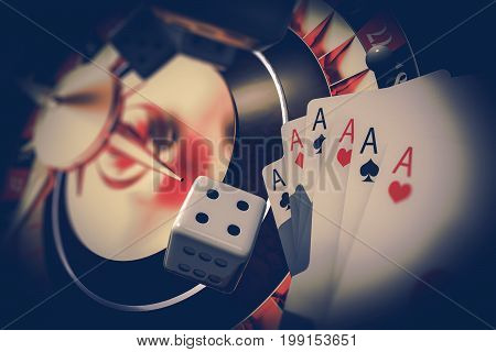Vegas Gambler Concept 3D Render Illustration. Casino Roulette Craps Dices and Poker Cards.