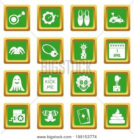 April fools day icons set in green color isolated vector illustration for web and any design