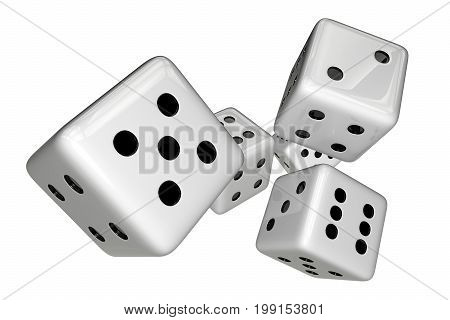 White Gaming Dices Isolated on White. 3D Rendered Illustration.