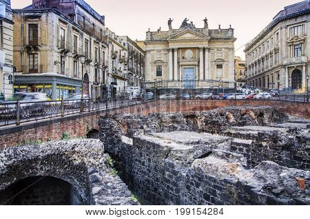 Center of the city of catania with Roman archaeological remains