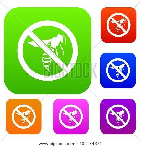 No wasp sign set icon in different colors isolated vector illustration. Premium collection
