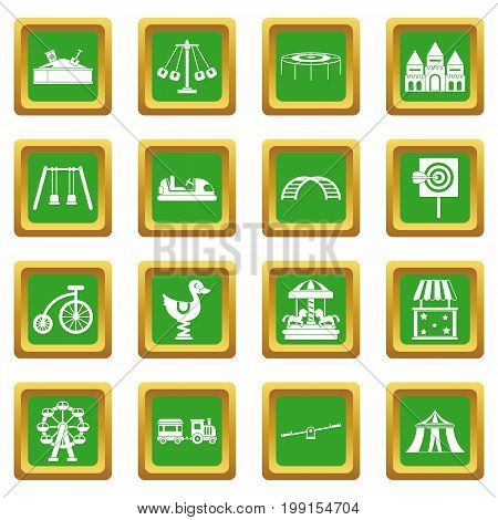 Amusement park icons set in green color isolated vector illustration for web and any design