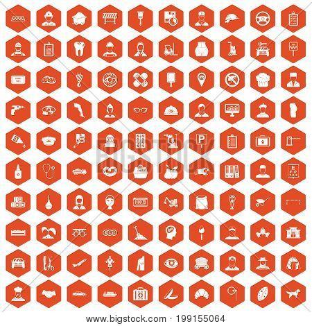 100 favorite work icons set in orange hexagon isolated vector illustration