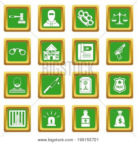 Crime and punishment icons set in green color isolated vector illustration for web and any design
