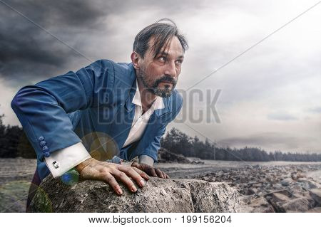 Businessman makes his way through obstacles. Middle-aged man in blue costume and white shirt. Success business concept