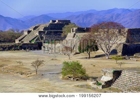 Landscape of Monte Alban ruins in Oaxaca Mexico