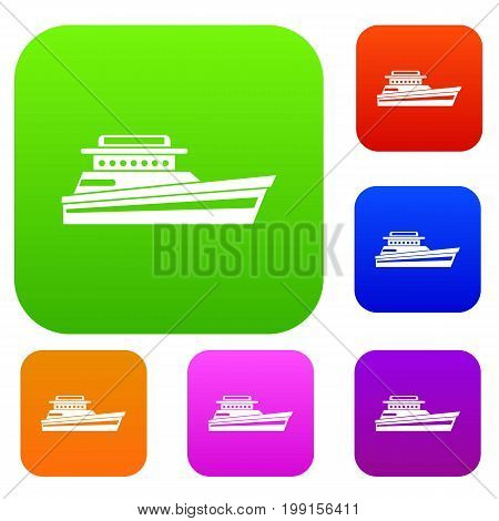 Great powerboat set icon in different colors isolated vector illustration. Premium collection