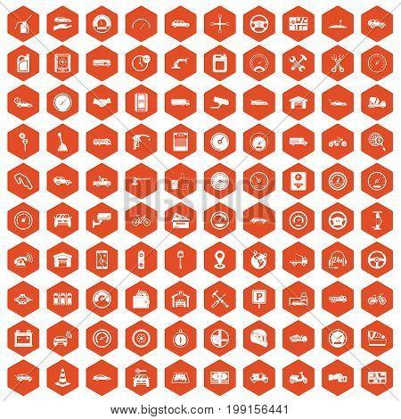 100 garage icons set in orange hexagon isolated vector illustration