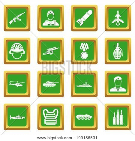 War icons set in green color isolated vector illustration for web and any design
