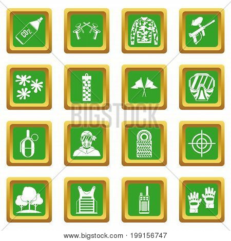 Paintball icons set in green color isolated vector illustration for web and any design