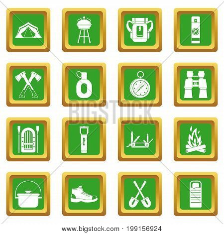 Recreation tourism icons set in green color isolated vector illustration for web and any design
