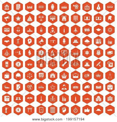 100 government icons set in orange hexagon isolated vector illustration