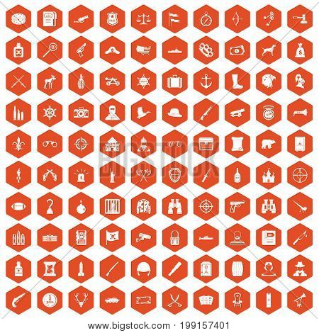 100 guns icons set in orange hexagon isolated vector illustration