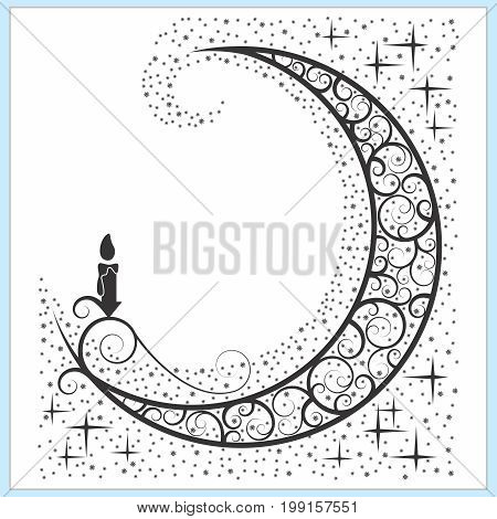 Vector Celtic Moon Symbol with Candle and Stars
