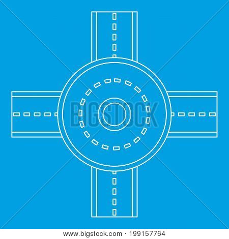 Road junction icon blue outline style isolated vector illustration. Thin line sign