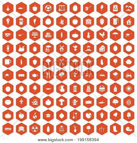100 health food icons set in orange hexagon isolated vector illustration