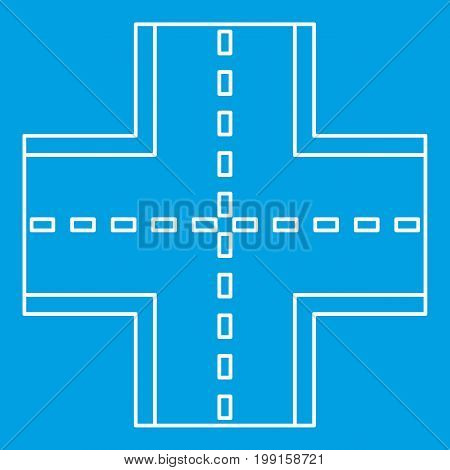 Crossroad icon blue outline style isolated vector illustration. Thin line sign