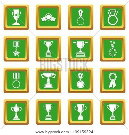 Trophy icons set in green color isolated vector illustration for web and any design