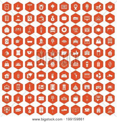 100 hotel icons set in orange hexagon isolated vector illustration