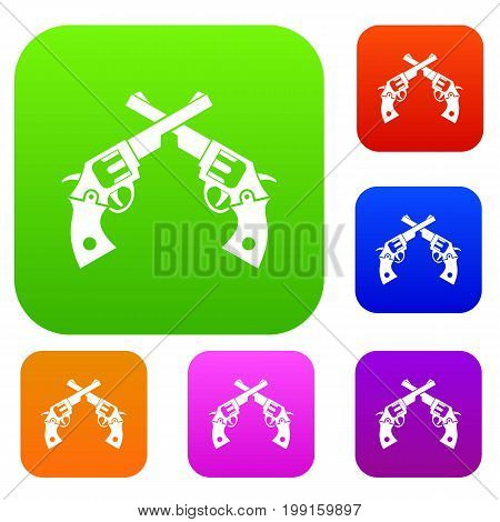 Revolvers set icon in different colors isolated vector illustration. Premium collection
