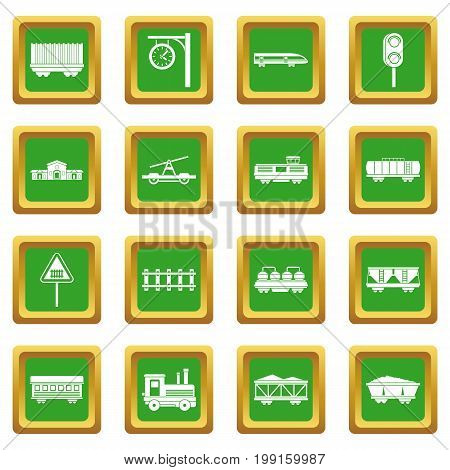 Railway icons set in green color isolated vector illustration for web and any design