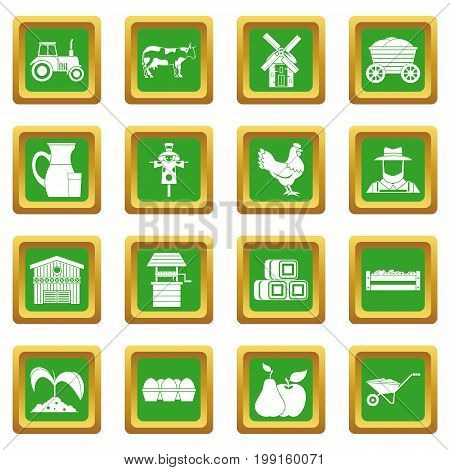 Farm icons set in green color isolated vector illustration for web and any design