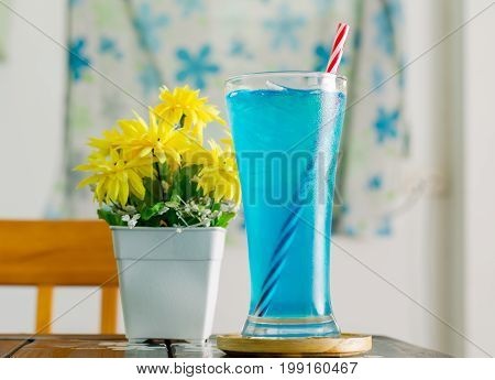 Ice blue drink in the glass for drink