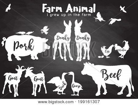 Vector Farm Animals Silhouettes Isolated ,farm Animals With Text.