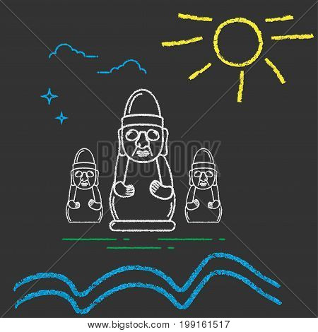 Kids Chalk Draw Imitation Illustration for Jeju Island Promotion: Rock or Stone Grandfather Statue known as Dol Hareubang or Harubang sun and sea waves. Jeju Harubang Rock Statue.
