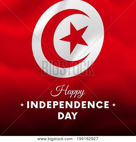 Banner or poster of Tunisia independence day celebration. Waving flag. Vector illustration.