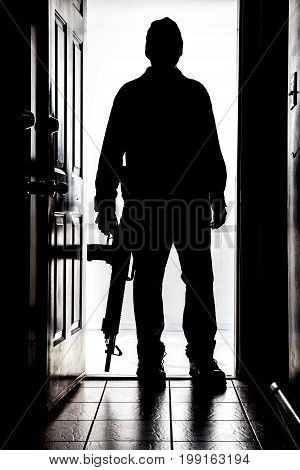 Intruder At Door, In Silhouette With Ar-15 Style Shotgun