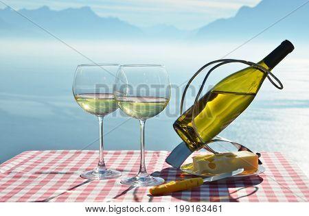 Wine and cheese. Geneva lake, Switzerland