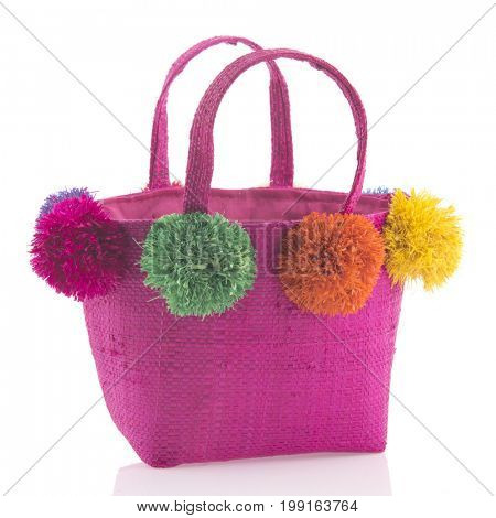 Funny pink shopping basket isolated over white background