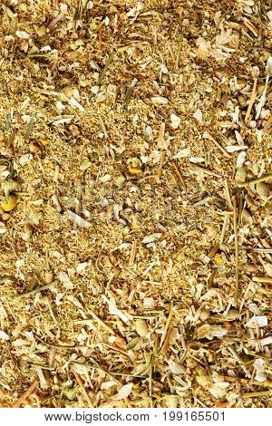 Dried and milled chamomile, closeup