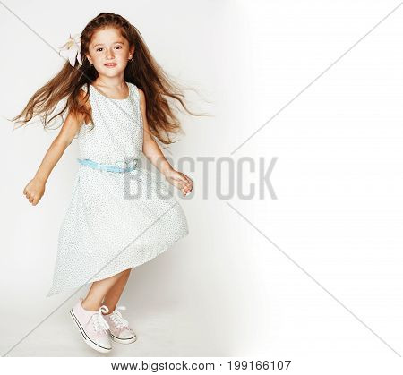 little cute spring girl in fancy dress isolated on white background, fashion stylish kid, lifestyle people concept close up