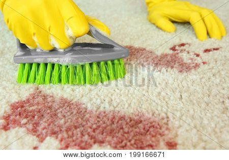 Hands in rubber gloves cleaning carpet with brush and detergent, close up
