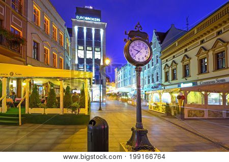 BYDGOSZCZ, POLAND - AUGUST 1, 2017: Architecture of Bydgoszcz city at night, Poland. Bydgoszcz is the eighth-largest city in Poland with beautiful neo-gothic and neo-baroque architecture.