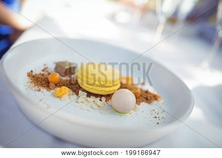 Close-up of dessert in plate at restaurant