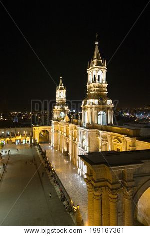 Arequipa, Peru: View of the Cathedral main church at the morning.