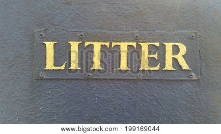 Litter Sign on Wall