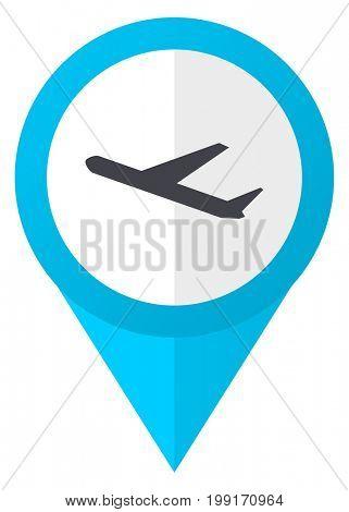 Departures blue pointer icon
