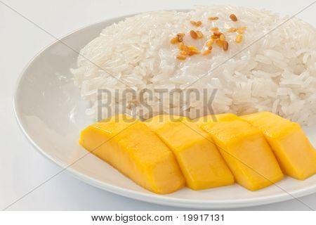 Thai dessert sweet sticky rice with mango