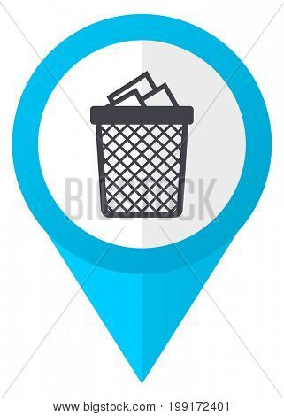 Trash can blue pointer icon