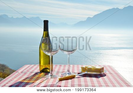 Wine and cheese. Geneva lake, Switzerland