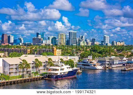Fort Lauderdale, Florida, USA skyline.