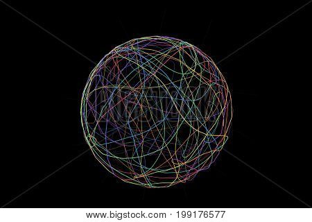 3d illustration abstract sphere with curved lines