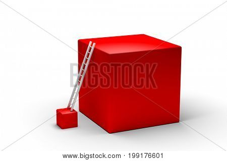 3d illustration abstract red cubics with ladder